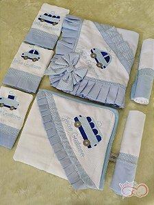 Kit Fraldas Carrinhos Azul Bebê 9 Peças