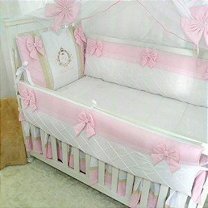Kit Berço Lacinhos Rosa Bordado Princesa