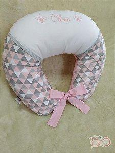Almofada Amamentação Estampa Triangular Rosa