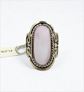 Anel regulável quartzo rosa