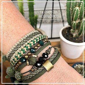 Mix de pulseiras verde exército