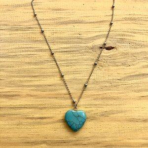 Colar coração turquesa