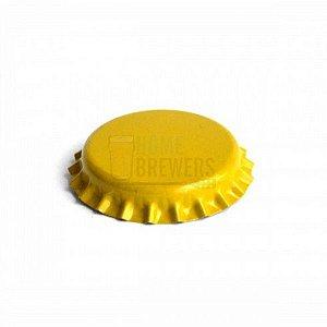 Tampinha metalica pry off amarela 26mm c/ 200g (aprox. 100 un)