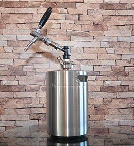 KIT Growler (barril) inox de 5,0L, c tampa Torneira Italiana, Conector Ball Lock