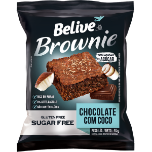 Belive - Brownie Sabor Chocolate com Coco 40g