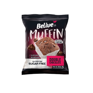 Belive - Muffin Double Chocolate Zero Açúcar 40g