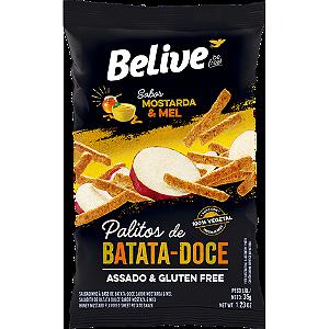 Belive - Palitos de Batata Doce Sabor Mostarda e Mel 35g
