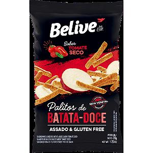 Belive - Palitos de Batata Doce Sabor Tomate Seco 35g