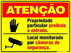 Placa Atenção Área Particular Monitorada.