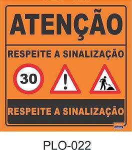 Placa para Sinalização de Obras Rodoviárias - PLO-022