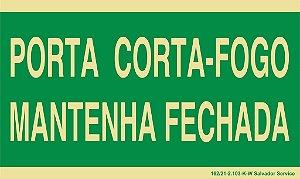 Placa Fotoluminescente - 24x12cm - Porta Corta-Fogo