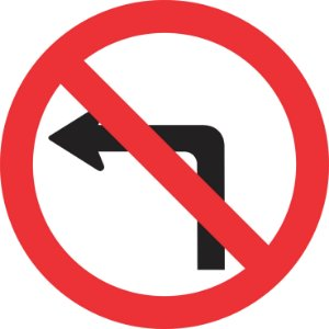 Placa de Regulamentação - R-4a - Proibido Virar à Esquerda