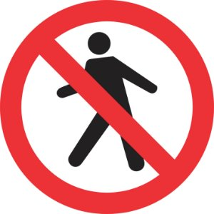 Placa de Regulamentação - R-29 - Proibido Trânsito de Pedestres