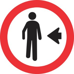 Placa de Regulamentação - R-30 - Pedestre Ande Pela Esquerda