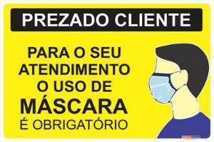 PLACA COMBATE COVID 19 - USO OBRIGATÓRIO DE MÁSCARA - 30X20 CM
