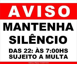 PLACA - AVISO MANTENHA SILÊNCIO 30X20CM VM