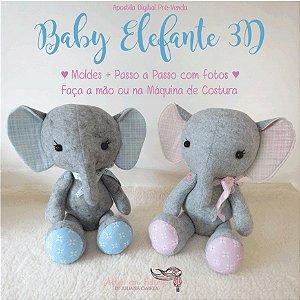 Apostila Digital Baby Elefante 3D - Artes em Feltros by  Juliana Cwikla