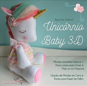 APOSTILA DIGITAL UNICÓRNIO BABY 3D - FAÇA NA MÃO E NA MÁQUINA