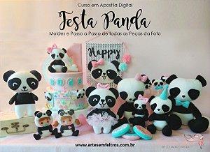 CURSO em Apostila Digital FESTA PANDA COMPLETA - Artes em Feltros - FAÇA NA MÃO OU NA MÁQUINA