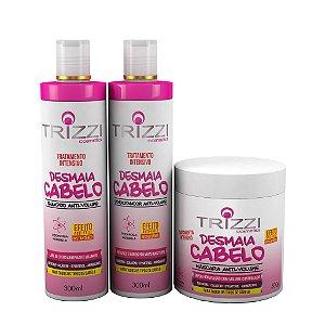 Kit Desmaia Cabelo Trizzi Shampoo 300ml + Condicionador 300ml + Máscara 500gr