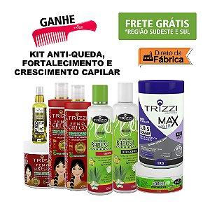 Kit Completo para Anti-queda, Fortalecimento e Crescimento Capilar - Kit Feno Grego + Kit Radiant Babosa + Max Hair Bomba - Trizzi Cosmetics