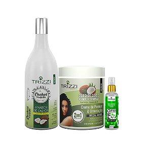 Kit Coco Trizzi Cosmetics - Ativador de Cachos Coco 1L - 2em1 Óleo de Coco & Mix de Vitaminas 1kg - Óleo de Coco 60ml