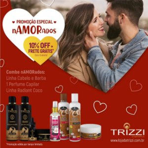 Kit Completo Especial Namorados - Kit Cabelo & Barba - Perfume Capilar - Kit Radiant Coco Trizzi Cosmetics