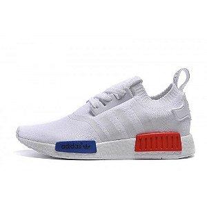 7e30aff2c1 Tenis NMD Adidas R1 Branco azul c vermelho + RELOGIO CASIO DE BRINDE