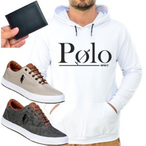 Kit 1 Tênis Polo Way Bege e Grafite com 1 Moletom Polo Efect Branco e Carteira