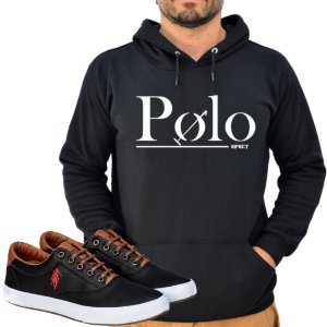 Kit 1 Tênis Polo Way Preto com 1 Moletom Polo Efect Preto