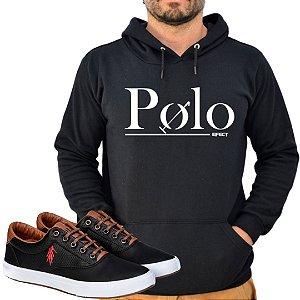 Kit 1 Tênis Polo Way Preto com 1 Moletom Polo Efect Preto