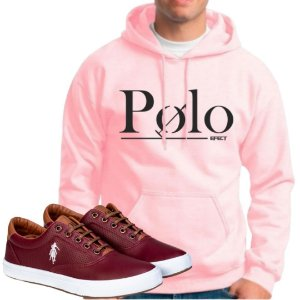 Kit 1 Tênis Polo Way Vinho com 1 Moletom Polo Efect Rosa