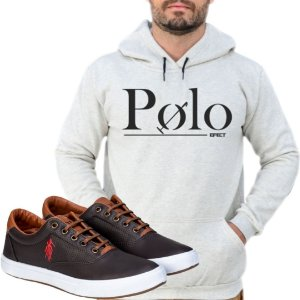 Kit 1 Tênis Polo Way Café com 1 Moletom Polo Efect Cinza