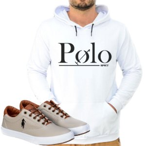 Kit 1 Tênis Polo Way Bege com 1 Moletom Polo Efect Branco