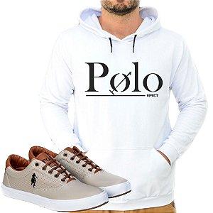 Kit 1 Tênis Polo Way Bege com 1 Moletom Polo Efect Branco