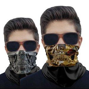 Kit 2 Máscaras Caveira Charuto e Metal