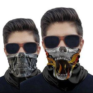 Kit 2 Máscaras Caveira Fogo e Metal
