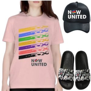 Kit Camisa Rosa e Boné Now United com Chinelo
