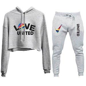 Conjunto Cropped e Calça Love United Cinza