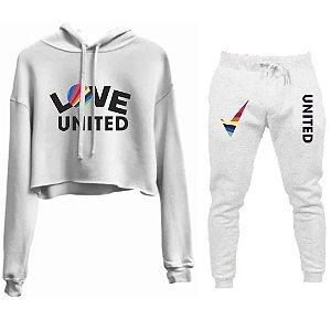 Conjunto Cropped e Calça Love United Branco