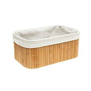 Caixa Cesto Organizador em Bambu Natural Revestido com Linho 27 X 17 X 11cm Decoração Organização