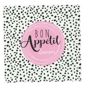 Guardanapo Papel Decorado Estampado Bon Appetit Luxo Pacote com 20 unidades Rosa Paper Design