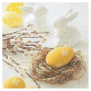 Guardanapo Papel Decorado Estampado Ninho Ovo de Pascoa Luxo Pacote com 20 unidades Easter Morning