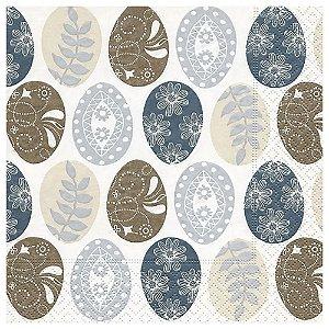 Guardanapo de Papel Decorado Estampado Ovinhos de Pascoa Luxo Pacote com 20 unidades Pattern Eggs