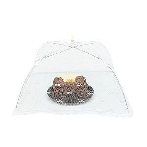 Tela Mosquiteiro Protetora de Alimentos 30 x 30 cm Tule Bolos Frutas Pães Branca Cozinha Mesa
