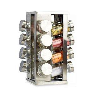Porta Tempero Condimento Giratorio Inox 16 Potes Quadrado