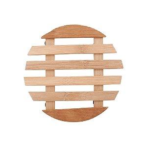 Descanso de Panela Suporte Apoio Redondo Bambu 17 cm Mesa Posta Cozinha Copa