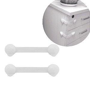 Trava Porta Gaveta Bebe Flexivel 16 x 3,5cm Seguranca Multiuso Transparente Resistente