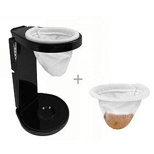 Kit Mini Coador de Café Individual 2 Filtro Pano Malha Algodao Expresso