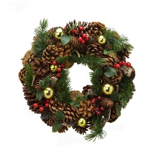 Guirlanda de Natal 33 x 9,5 cm Enfeite Porta Pinha Vermelho Dourado Decoracao Natalina